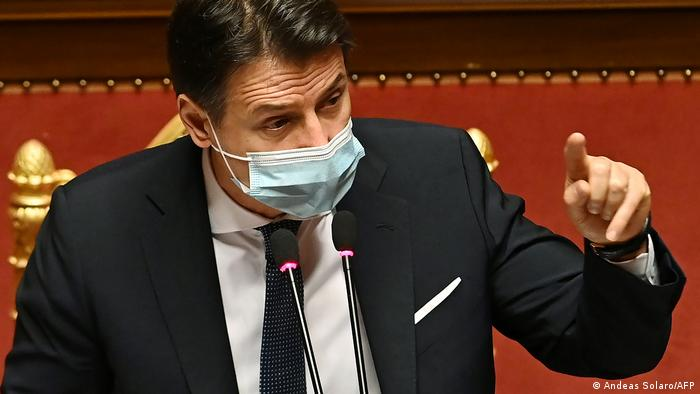 Prime Minister Giuseppe Conte addresses senators