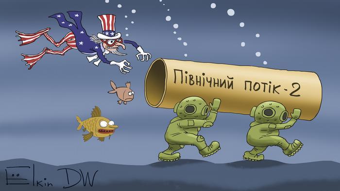 Невидима боротьба за Північний потік-2: карикатура Сергія Йолкіна