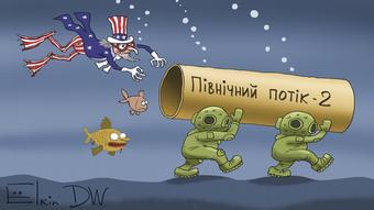 Karikatur von Sergey Elkin zu US-Sanktionen gegen Nord Stream-2