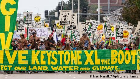 Protests in Lincoln, Nebraska demonstrate against the Keystone XL oil sands pipeline