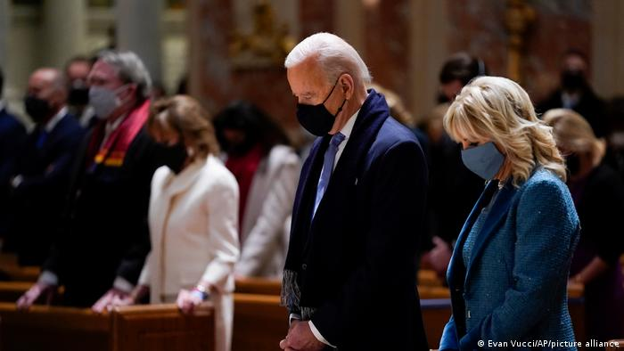Joe Biden and his wife Jill Biden praying in Church on Inauguration Day