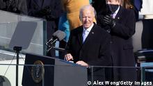 US President Joe Biden speaking at his inauguration in Washington DC