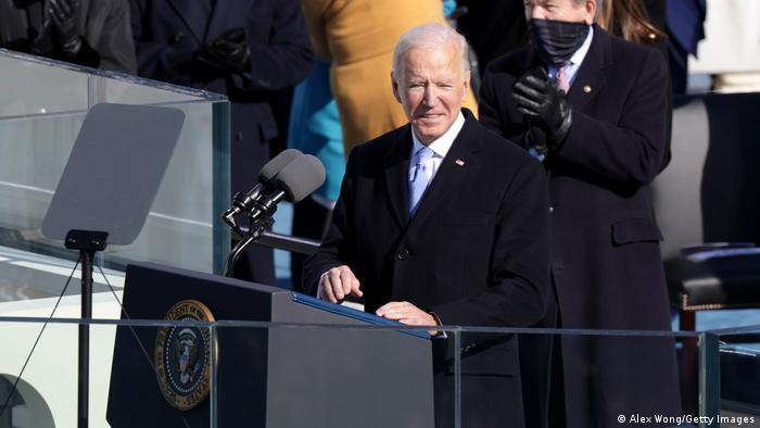 US President Joe Biden speaking at his inauguration in Washington DC