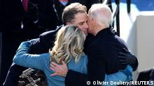 US President Joe Biden and first lady Jill Biden hug Hunter Biden after being sworn in as US president during his inauguration on the West Front of the US Capitol on January 20, 2021 in Washington, DC. - During today's inauguration ceremony Joe Biden becomes the 46th president of the United States. (Photo by OLIVIER DOULIERY / AFP) (Photo by OLIVIER DOULIERY/AFP via Getty Images)