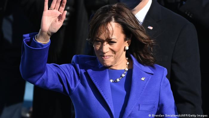 Kamala Harris waves to guests after her inauguration