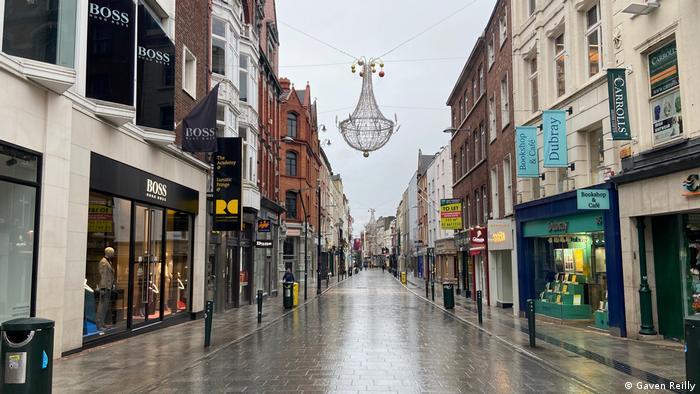 An empty shopping street in Dublin