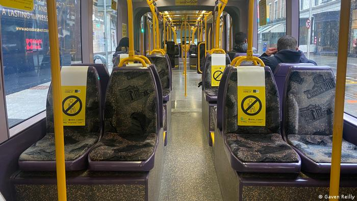 A virtually empty 'Luas' tram in Dublin
