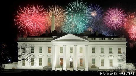 Fireworks seen over the White House after Joe Biden's inauguration