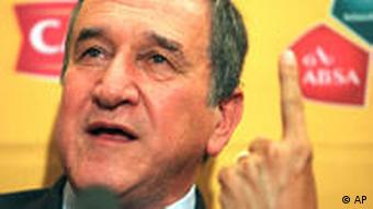 File photo: Reappointed South African national team soccer coach Carlos Alberto Parreira, from Brazil, speaks at a news conference in Johannesburg, Friday, Nov. 6, 2009. (Photo via AP)