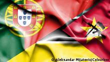 Flaggen von Portugal und Mosambik