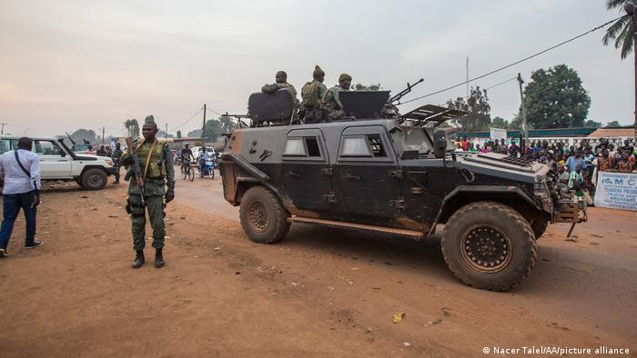 Central African Republic security forces take measures around the party headquarters of current President Faustin Archange Touadera