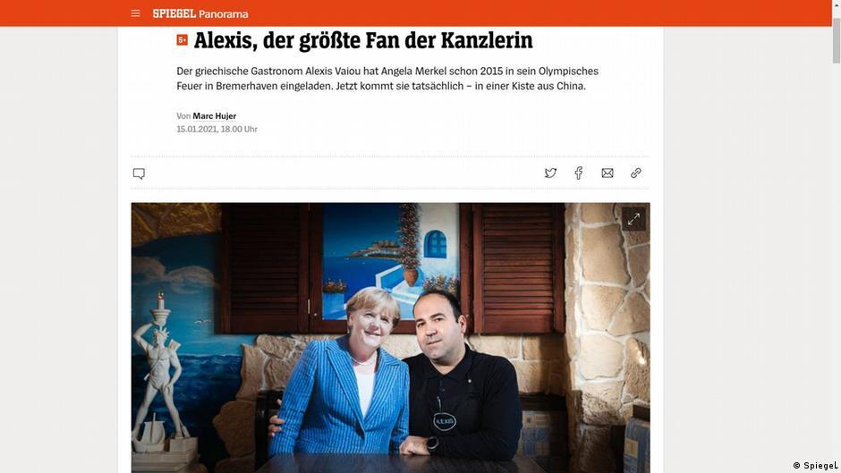 Screenshot Spiegel Gastronom Alexis Vaiou stellt Merkel-Figur auf