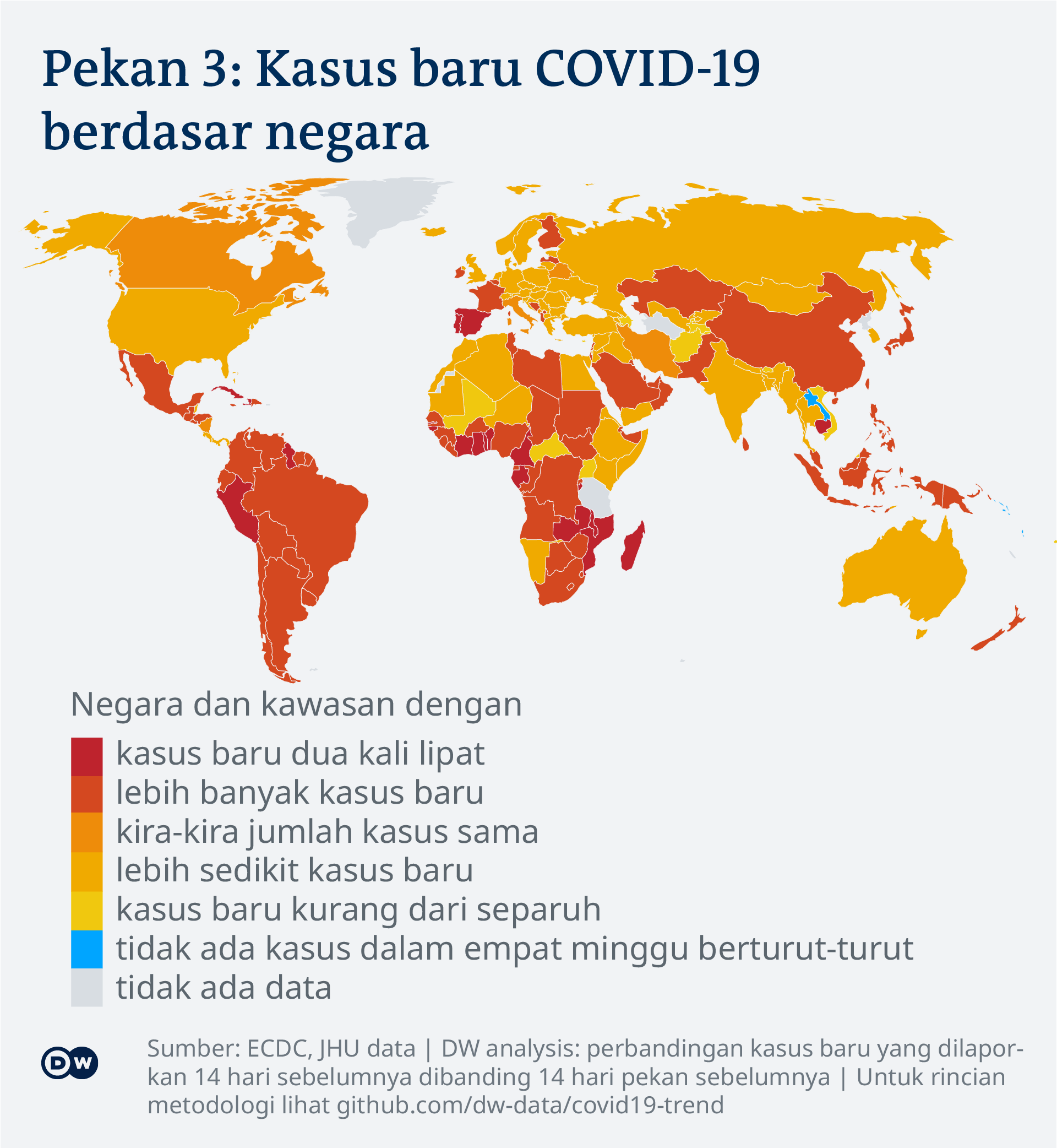 Data visualization: COVID-19 global new case numbers trend - map calendar week 3, 2021 - Indonesian