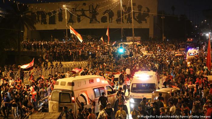 People gathering in Baghdad to protest unemployment, corruption and lack of public services