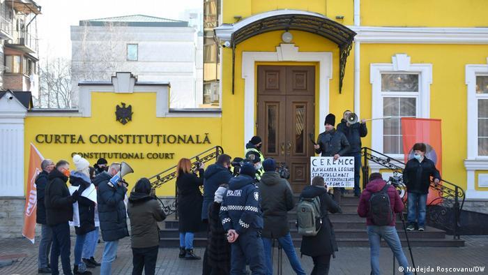 Протесты перед Конституционным судом Молдовы в Кишиневе, 21 января 2021 года