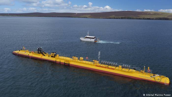 The exterior of an Orbital tidal turbine at the Orkney tidal test site near Billia Croo
