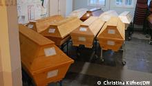 Coffins in a crematorium in Döbeln
