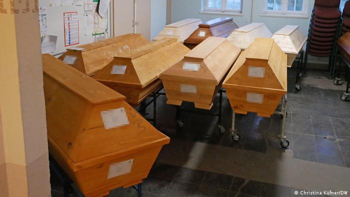 Coffins in a crematorium in Döbeln