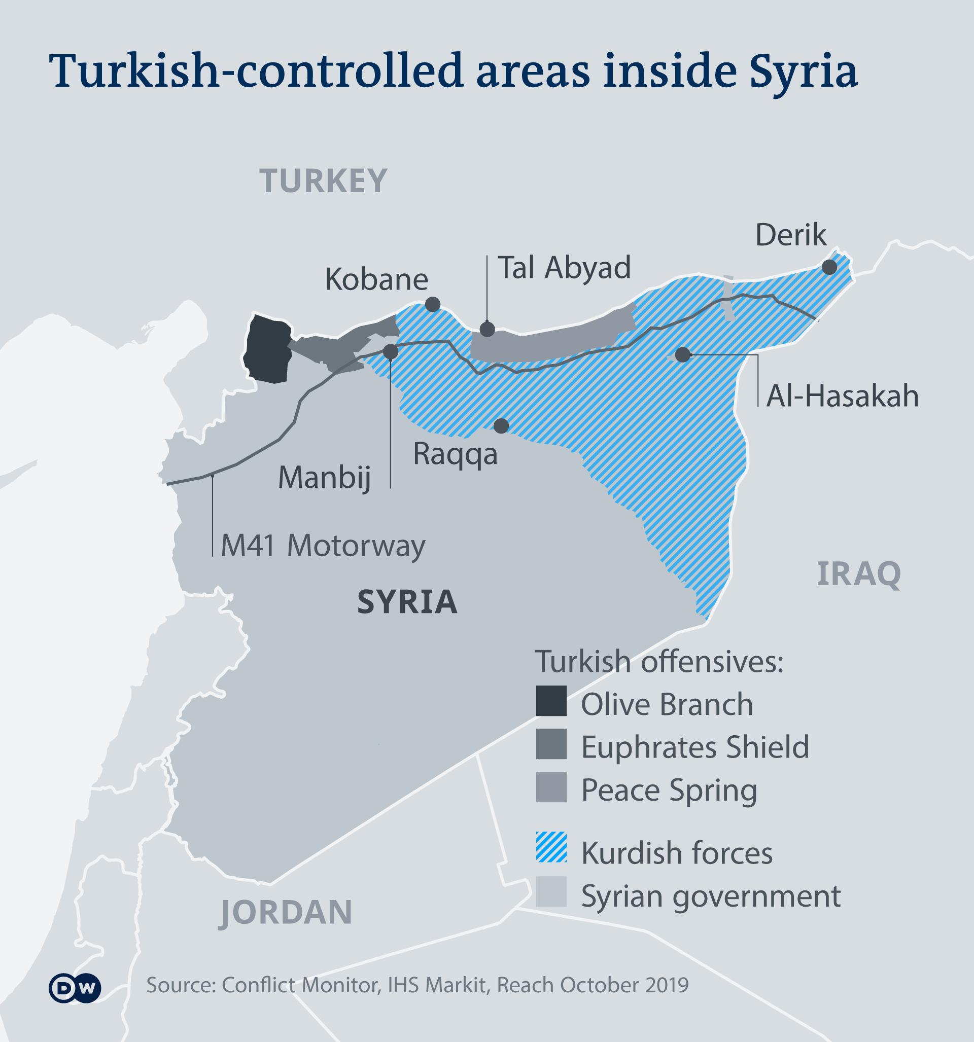 Infografik Karte Kontrollierte Gebiete in Syrien durch die Türkei EN