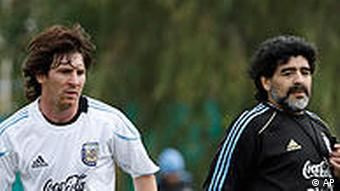 Lionel Messi (left) at a training session with Argentina's coach Diego Maradona