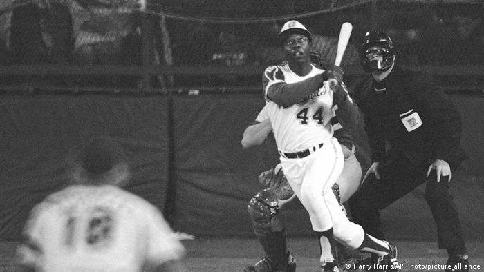 Hank Aaron hits his 715th career home run on April 8, 1974