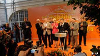Social Democratic Party Chairman Jiri Paroubek at a press conference