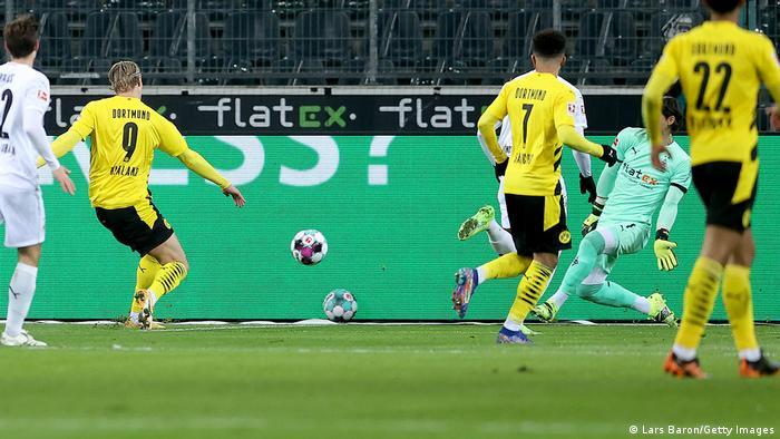 Erling Haaland scores a goal