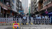 Hongkong | Polizeiabsperrung nach Coronavirusausbruch