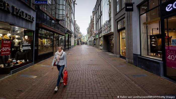 Amsterdam Einkaufsstraße Lockdown