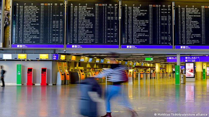Terminal 1 at Frankfurt Airport, empty aside from a few passengers