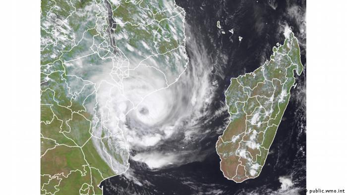 A satellite image of Tropical Cyclone Eloise