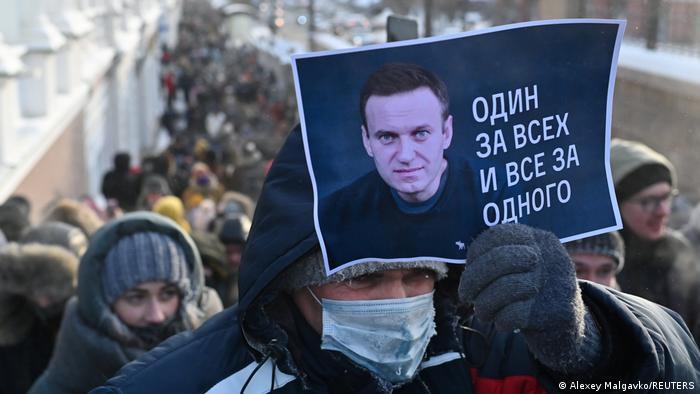 Russland Omsk | Proteste gegen Regierung | wegen Verhaftung von Nawalny