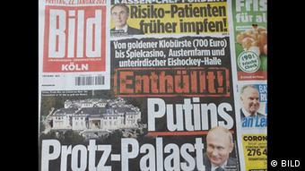 Титульный лист номера бульварной газеты Bild с рассказом о дворце Путина