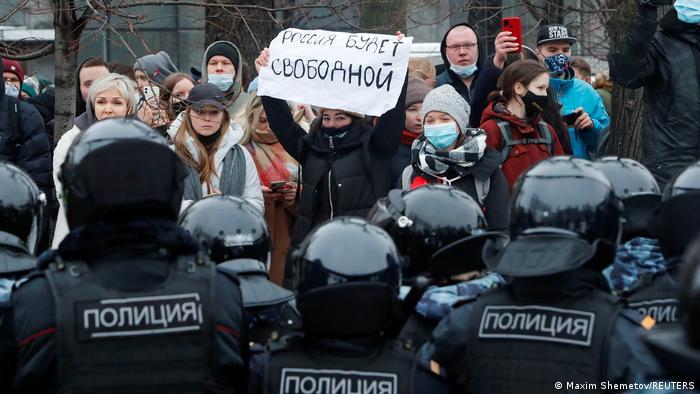 Russland Moskau | Proteste gegen Regierung | wegen Verhaftung von Nawalny