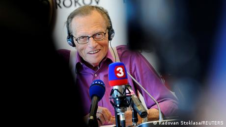 US television personality Larry King smiles during a news conference in Bratislava
