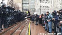 Moskova - Puşkin Meydanı'nda Aleksey Navalni'nin serbest bırakılması için gösteride bulunan eylemciler (23.01.2021)