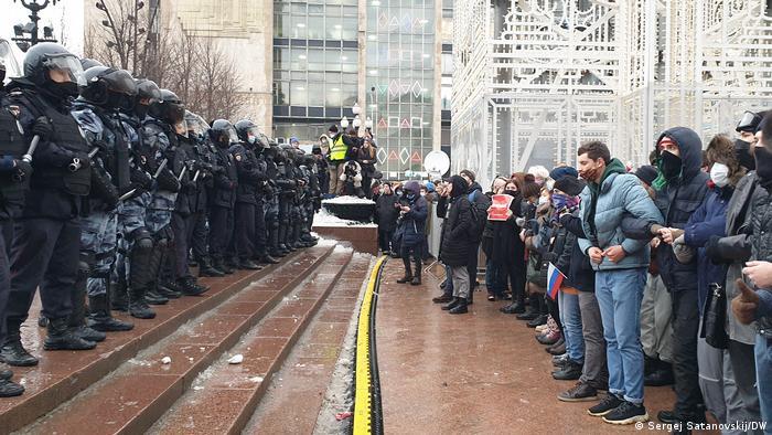 Russland Kundgebung auf dem Puschkinplatz für die Freilassung Nawalnys