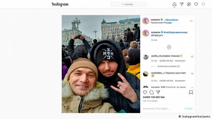 Screenshot Instagram Rapper Noize MC und Vladi Kasta auf einer Protestdemo für Nawalny