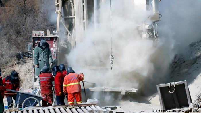 Rescuers work at the explosion site of a gold mine on January 19, 2021 in Qixia, Shandong Province of China.
