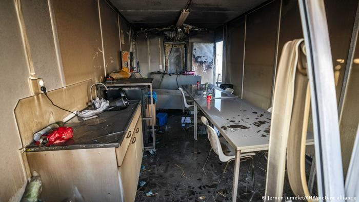 the burnt out inside of the test center