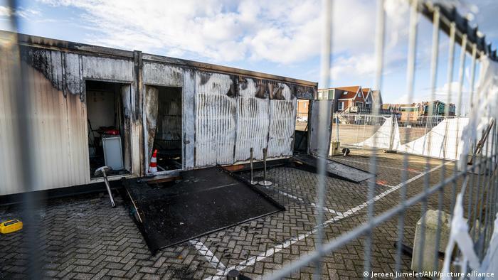 a burnt out portable test center
