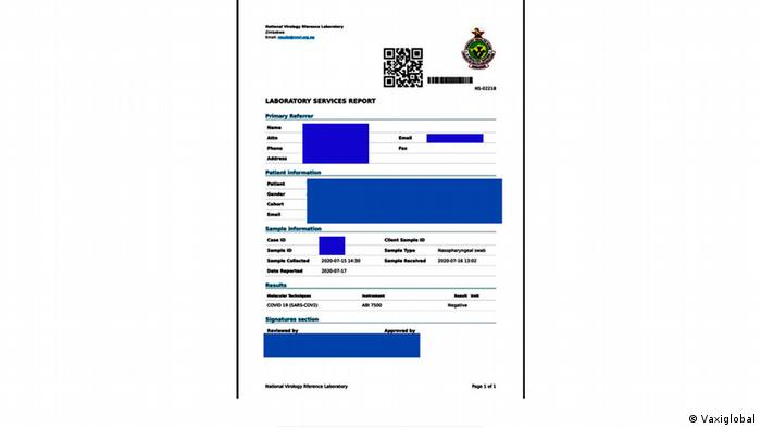 Vaxiglobal app I A COVID-19 test certificate