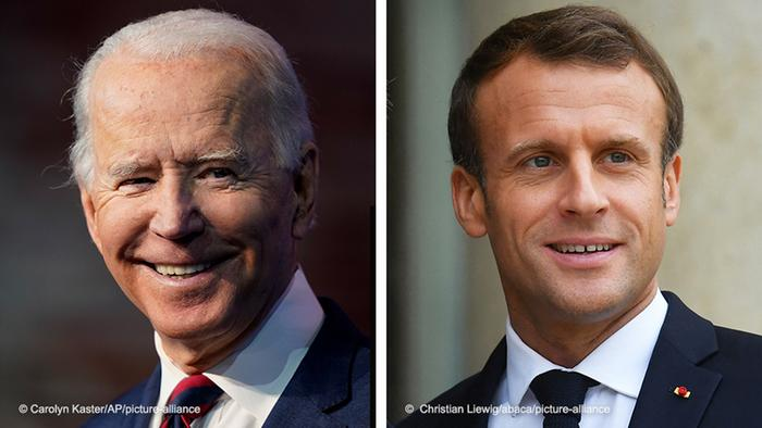 Portraits of Joe Biden and Emmanuel Macron