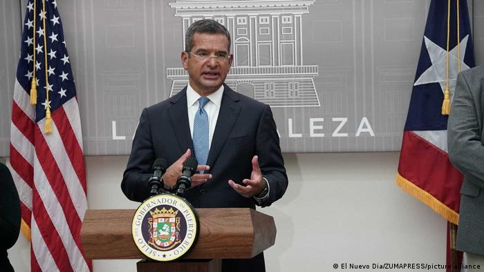 Puerto Rican Governor Pedro Pierluisi speaks at a press conference on January 5