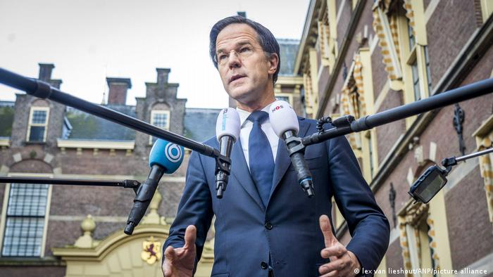 The Netherland's Prime Minister, Mark Rutte, talks to the media