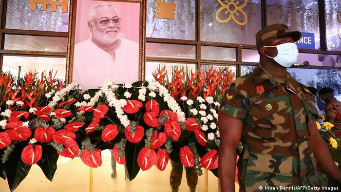 A military officer stands guard at the lay in state of the former Ghana President Jerry John Rawlings in Accra