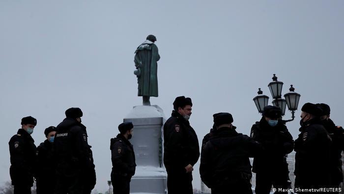 Полиция во время несанкционированной властями акции 23 января в Москве