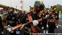 Cadets of Indian Army prepare for a full dress rehearsal for the upcoming Republic Day Parade in Chennai on January 24, 2021. (Photo by Arun SANKAR / AFP) (Photo by ARUN SANKAR/AFP via Getty Images)