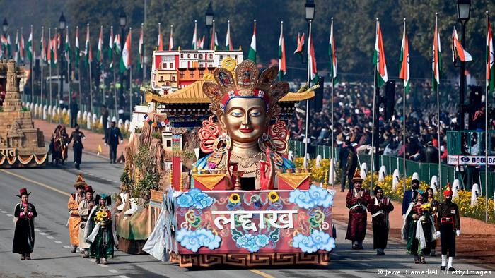 A float from the Ladakh region passes along the parade