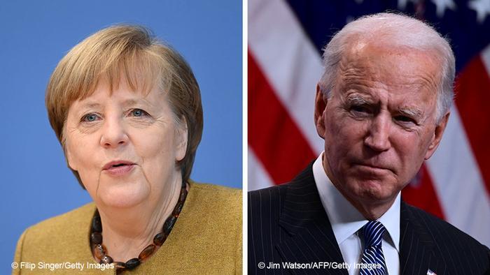 Bildkombo Angela Merkel und Joe Biden